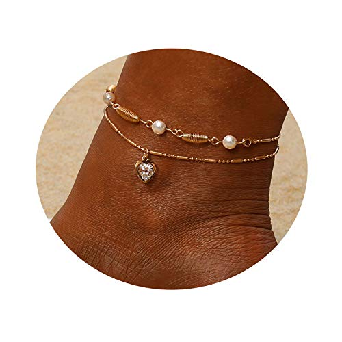 Heart Multilayer Metal Anklet Zircon Pearl Crystal Shell Adjustable Tassel Anklet Beads Sea Handmade Layered Boho Anklet Foot Jewelry Rose Gold Chain Anklet Heart Beach Anklet for Women and Girls ()