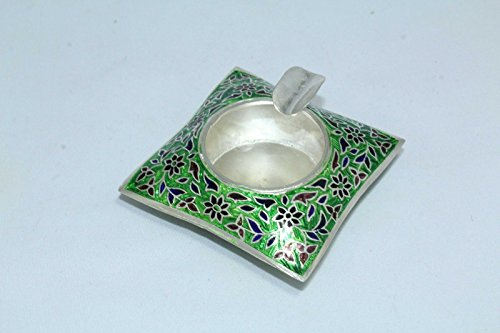 India Green Enamel Cloisonne Work On 925 Sterling Silver Ash Tray Stamped 36.0G