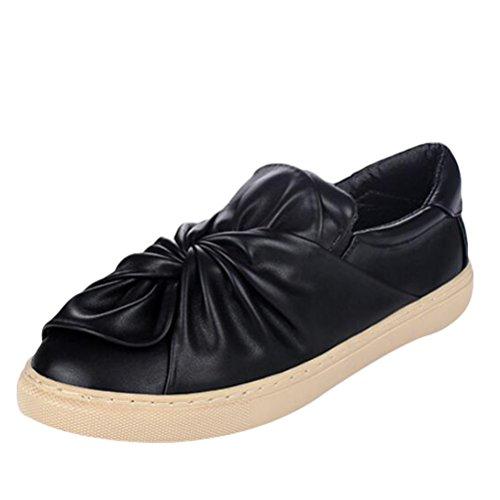 MatchLife Décontractées Noire Ballerines en Chaussures Femme Sneakers Bowknot Plates Style2 Cuir rq8rg