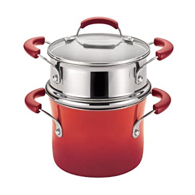 Rachael Ray Porcelain Enamel II Nonstick Covered Steamer Set, 3-Quart, Red Gradient