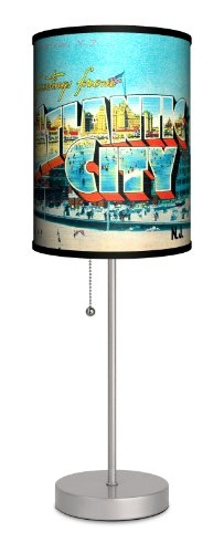 Travel - Atlantic City Postcard Sport Silver Lamp by Lamp-In-A-Box