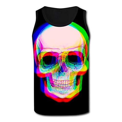 Skull Neon Men's Tank Tops 3D Printed Sleeveless T Shirts Workout Fitness Tank Top for Men