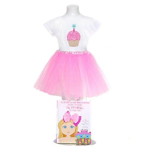 Girls White Cupcake Pink Tulle Skirt Birthday Dress w/ Book 7/8