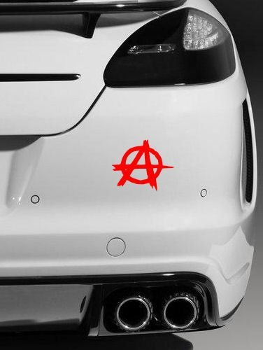 2 X Anarchy Car Macbook Laptop Stickers Removable Vinyl Jdm Car Window Bumper Decals Funny Motorcycle Stickers 18 X 4 Cm  Red