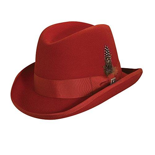 Stacy Adams Men's Wool Hamburg Hat,Red,XL