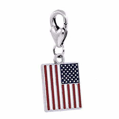 (Red White Blue Enamel American Flag USA Lobster Clip Dangle Charm for Bracelets Crafting Key Chain Bracelet Necklace Jewelry Accessories)