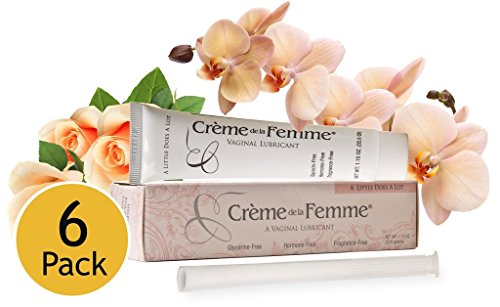 Cream Lubricant - Crème De La Femme 6-Pack, Natural Vaginal Moisturizing Cream for Feminine Dryness, Estrogen-Free, Safe Lubricant, Free Applicator Included
