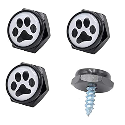 CUTEQUEEN 2pcs Black License Plate Frame paw Print with 4 paw Print Black Fasteners Black paw White Base(Pack of 2): Automotive