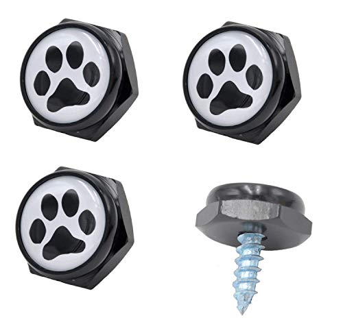 - Cutequeen Black License Plate Frame Bolts Screws Metal with Black Paw(Pack of 4) (Black Paw)