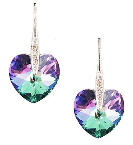 Artnouveau Elle Heart Pendant Drop Hook Earrings with Crystals from Swarovski (Vitrail Light) (Vitrail Light)