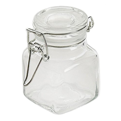 BalsaCircle 12 pcs 4 oz. Clear Square Glass Jars Favor Holders - Wedding Party Candy Gift Packaging Decorations Supplies ()