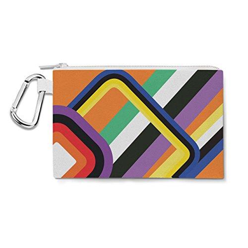 60s Geometric Shapes Canvas Zip Pouch - XL Canvas Pouch 12x9 inch - Multi Purpose Pencil Case Bag in 6 sizes