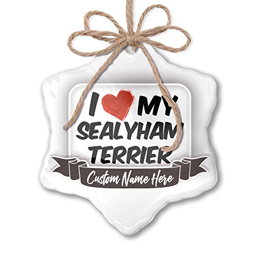 (NEONBLOND Create Your Ornament I Love My Sealyham Terrier Dog from Wales Personalized)
