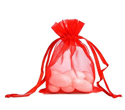 100pcs Red Sheer Organza Jewelry Pouches Wedding Party Favor Gift Bags 6X8cm