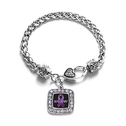 (Inspired Silver - Epilepsy Awareness Braided Bracelet for Women - Silver Square Charm Bracelet with Cubic Zirconia Jewelry)