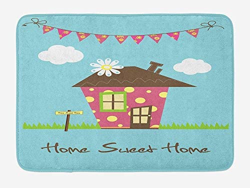 Tgyew Home Sweet Home Bath Mat Cozy Town House With Polka Dots On
