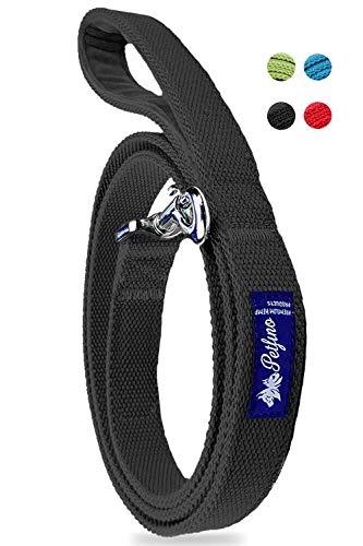 PETFINO Hemp Dog Leash (5' Feet Long) (Double-Layered) Padded Fleece-Lined Handle with Reflective Safety Strip (Large, Black)