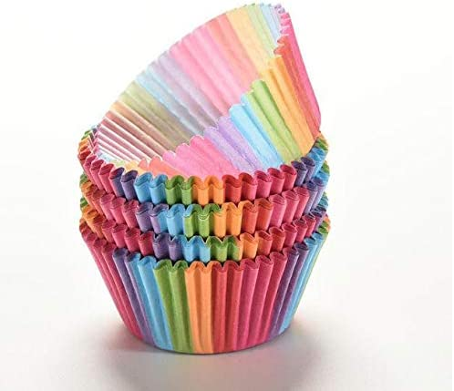 Da.Wa 100-Pcs Paper Rainbow Cupcake Moulds Baking Cups Nonstick Bakeware Muffin Bread Cake Molds Cupcake Baking Liners