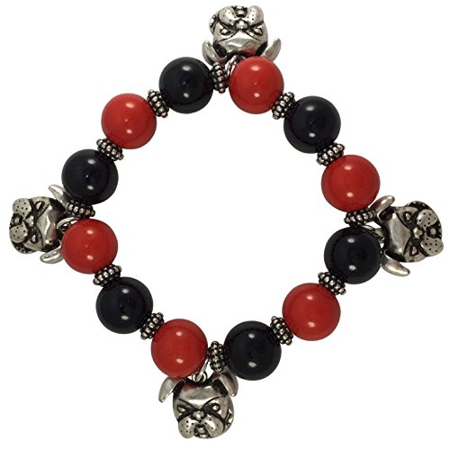 Bulldogs Charms Red & Black Beaded Stretch Bracelet - Great Gift For Georgia Dawgs Fan