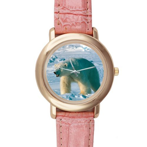 Gifts for Girls/Ladies Cool Polar Bear Pink Leather Alloy Watch
