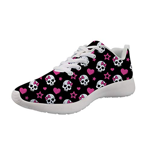 (Showudesigns Cute Skull Sport Road Running Shoes Women's Lightweight Walking Sneaker for Outdoor Travel)