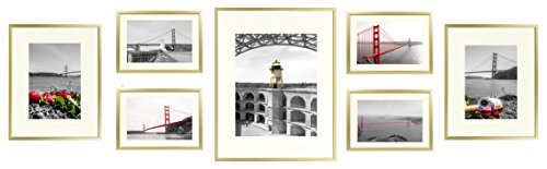 ld Aluminum Wall Frame with Ivory Color Mat Set - Four 5x7 - Two 8x10 - One 11x14 - Real Glass - Swivel Tabs - Sawtooth Hangers (Gold) ()