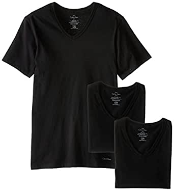 Calvin Klein Men's 3 Pack Cotton Classics Slim Fit V-Neck T-Shirt, Black, Small