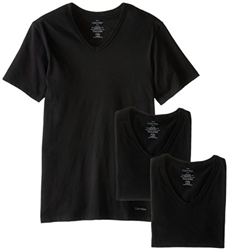 Faded Logo Tee - Calvin Klein Men's Cotton Classics Short Sleeve V-Neck T-Shirt, Legacy Black, X-Large
