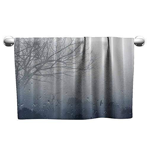 New York Giants Denim - duommhome Rainy Scene Mystic Foggy Forest Beach Towel Art Prints Romantic Window Water Drops View Melancholia Therapy Lonely Tree Unique W10 x L39 Gray Denim
