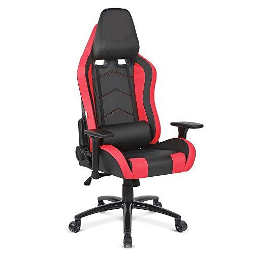 IKAYAA Gaming Stuhl Büro-/Schreibtischstuhl Chefsessel mit Kissen und Armlehnen D-9263