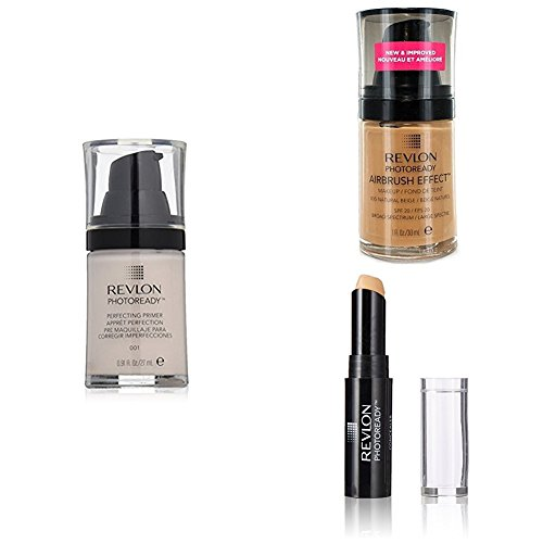Revlon PhotoReady  Face Collection – Perfecting Primer, Airbrush Effect Liquid Foundation & Concealer, Natural Beige