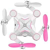 Zehui Folding Mini RC Quadcopter Wifi Control Real Time Transmission Pocket Drone for Aerial Photography Pink