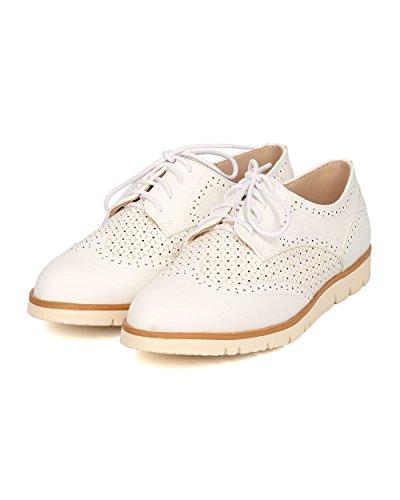 Sole Loafer Spectator GI09 Flat Women Oxford Loafer Leatherette Sneaker Nature White by Breeze Lug 8wgzqxxCS