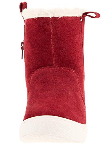 oodji Ultra Mujer Botas Cálidas con Pelo Sintético Rojo (4900N)