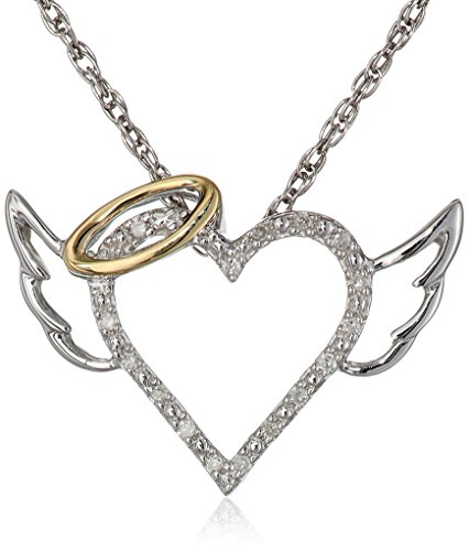 Winged Halo Heart Pendant Sterling Silver and 14k Yellow Gold Diamond