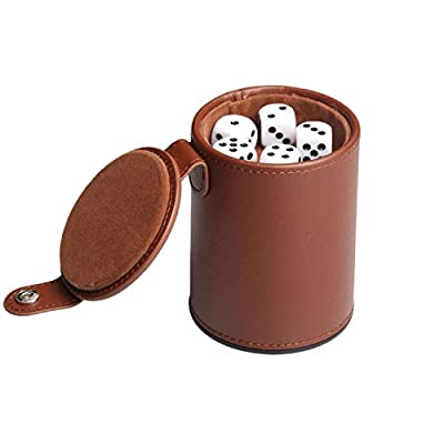 RERIVER PU Leather Dice Cup Set with Storage Compartment Felt Lining Shaker with 5 Dot Dices for Farkle Yahtzee Games Playing Birthday Gift,Brown: Toys & Games