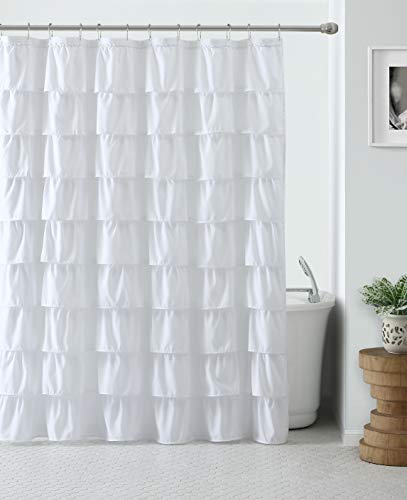 VCNY Home Heavy Duty Luxurious Shabby Gypsy Ruffled White Fabric Shower - Curtain Ruffle Shower