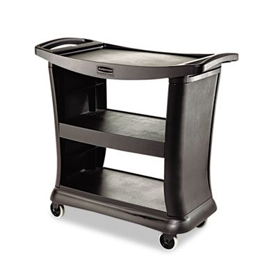 Executive Service Cart, Three-Shelf, 20-1/3w x 38-9/10d, Black, Sold as 1 Each (Executive Service Cart)