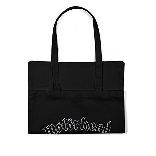 "Bolsa de tela ""Motorhead Skull Star"" - tote bag shopping bag 100% algodón LaMAGLIERIA, Negro"