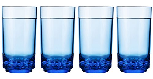 Drinique Elite Tall 14 oz. Highball Tumbler - Unbreakable BPA-free Tritan Drinking Glasses - Premium Plastic Drinkware (Set of 4, Blue) (Glasses Blue Plastic)