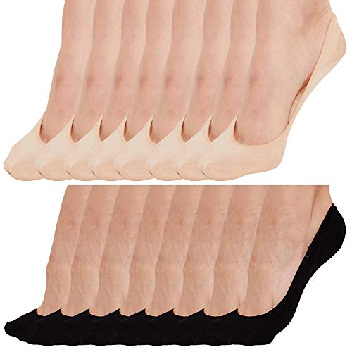 No Show Socks For Women Casual Low Cut Sock Liners With Non Slip Grips Women's Cotton Invisible Socks (US Women 9-10.5, 8 Pack (Black 4 Pack + Beige 4 ()