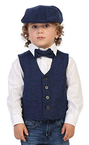 (Gioberti Boy's 3pc Tweed Vest with Matching Cap and Bow Tie, Donegal Royal Blue, Size 8)