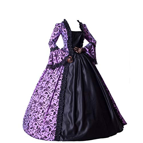 Medieval Renaissance Fairytale Vampire Brocade Dress Masquerade Gown Theater Cosplay Halloween Costume (M, Purple and Black)]()