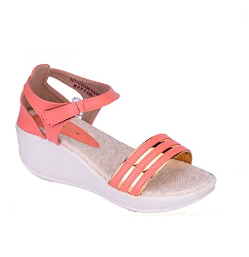 Womens Peach Faux Leather Heels