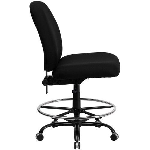 Flash Furniture HERCULES Series Big & Tall 400 lb. Rated Black Fabric Drafting Chair