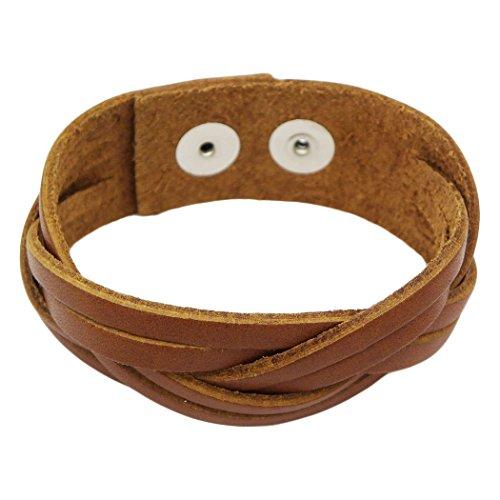 Rosemarie Collections Men's Handmade Braided Leather Adjustable Bracelet (Light Brown) (Mens Abercrombie Bracelet)