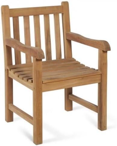 macizo – Brazo silla de jardín de madera de teca: Amazon.es: Jardín