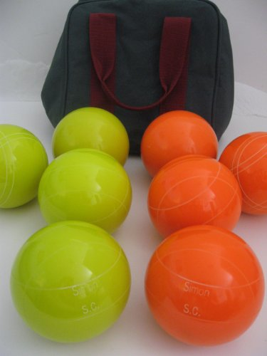 Premium Quality Engraved Bocce Package - 110mm Epco Yello and Orange Balls with Engraving by Epco