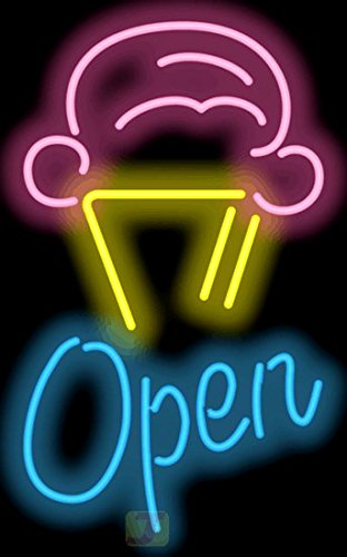 Ice Cream Cone w/Open Neon Sign by Jantec Sign Group