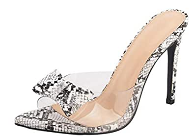 Jiu du Women's Sexy Clear Wedge Slip On Pointed Toe Summer Shoes Slingback Slippers Stiletto High Heel Dress Sandals Size: 8.5
